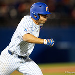 University of Florida Gators outfielder/pitcher Nick Horvath at the plate and singles as the #2 ranked Gators defeat the #7 Florida State Seminoles 12-6 at McKethan Stadium.  February 16th, 2017. Gator Country photo by David Bowie.