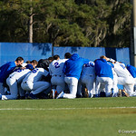The Florida Gators baseball team gathers together in the outfield during pre-game as the #2 ranked Gators defeat the #7 Florida State Seminoles 12-6 at McKethan Stadium.  February 16th, 2017. Gator Country photo by David Bowie.
