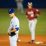 University of Florida Gators pitcher Tommy Mace pitching as the #2 ranked Gators defeat the #7 Florida State Seminoles 12-6 at McKethan Stadium.  February 16th, 2017. Gator Country photo by David Bowie.