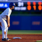 University of Florida Gators outfielder/pitcher Nick Horvath leads off second base as the #2 ranked Gators defeat the #7 Florida State Seminoles 12-6 at McKethan Stadium.  February 16th, 2017. Gator Country photo by David Bowie.