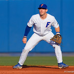 University of Florida Gators infielder Deacon Liput gets set for a pitch as the #2 ranked Gators defeat the #7 Florida State Seminoles 12-6 at McKethan Stadium.  February 16th, 2017. Gator Country photo by David Bowie.