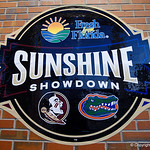 The Sunshine Showdown sign as the #2 ranked Gators defeat the #7 Florida State Seminoles 12-6 at McKethan Stadium.  February 16th, 2017. Gator Country photo by David Bowie.