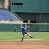 University of Florida infielder Deacon Liput fields a ball during the Florida Gators first practice at TD Ameritrade park for the 2018 College World Series.