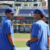 University of Florida freshmen Brady McConnell and Jordan Butler talking during the Florida Gators first practice at TD Ameritrade park for the 2018 College World Series.