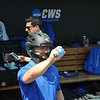 University of Florida trainer poses with a catchers mask and water baloon for ESPN during the Florida Gators first practice at TD Ameritrade park for the 2018 College World Series.