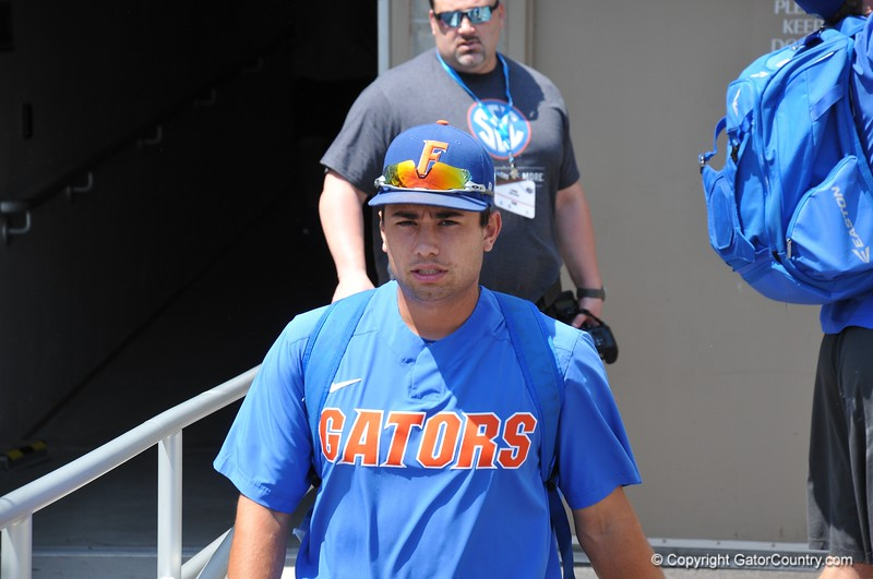 University of Florida outfielder walks on to the field during the Florida Gators first practice at TD Ameritrade park for the 2018 College World Series.