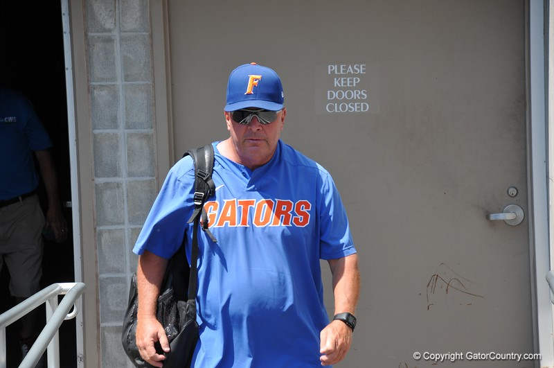 University of Florida coach Brad Weitzel during the Florida Gators first practice at TD Ameritrade park for the 2018 College World Series.