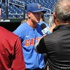 University of Florida infielder Blake Reese doing an interview during the Florida Gators first practice at TD Ameritrade park for the 2018 College World Series.
