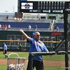 University of Florida coach Brad Weitzel throws batting practice during the Florida Gators first practice at TD Ameritrade park for the 2018 College World Series.