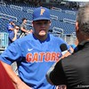 University of Florida freshman Brady Smith doing an interview during the Florida Gators first practice at TD Ameritrade park for the 2018 College World Series.