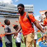 University of Florida Gators running back Lamical Perine as the Gators walk into and across Steve Suprrier Field at  Ben Hill Griffin Stadium during Gator Walk prior to the 2018 Orange and Blue Debut.  April 14th, 2018.  Gator Country photo by David Bowie.