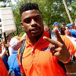 University of Florida Gators defensive back Chauncey Gardner-Johnson as the Gators walk into and across Steve Suprrier Field at  Ben Hill Griffin Stadium during Gator Walk prior to the 2018 Orange and Blue Debut.  April 14th, 2018.  Gator Country photo by David Bowie.