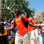 University of Florida Gators athlete Kadarius Toney as the Gators walk into and across Steve Suprrier Field at  Ben Hill Griffin Stadium during Gator Walk prior to the 2018 Orange and Blue Debut.  April 14th, 2018.  Gator Country photo by David Bowie.