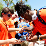 University of Florida Gators quarterback Emory Jones signing autographs as the Gators walk into and across Steve Suprrier Field at  Ben Hill Griffin Stadium during Gator Walk prior to the 2018 Orange and Blue Debut.  April 14th, 2018.  Gator Country photo by David Bowie.