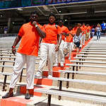 The Fkorida Gators into and across Steve Suprrier Field at  Ben Hill Griffin Stadium during Gator Walk prior to the 2018 Orange and Blue Debut.  April 14th, 2018.  Gator Country photo by David Bowie.