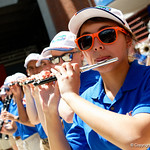 The University of FLorida Gators band plays on as the Gators walk into and across Steve Suprrier Field at  Ben Hill Griffin Stadium during Gator Walk prior to the 2018 Orange and Blue Debut.  April 14th, 2018.  Gator Country photo by David Bowie.