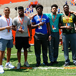 Florida Gators recruits watch on as the Gators walk into and across Steve Suprrier Field at  Ben Hill Griffin Stadium during Gator Walk prior to the 2018 Orange and Blue Debut.  April 14th, 2018.  Gator Country photo by David Bowie.