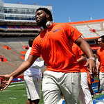University of Florida Gators offensive lineman Martez Ivey as the Gators walk into and across Steve Suprrier Field at  Ben Hill Griffin Stadium during Gator Walk prior to the 2018 Orange and Blue Debut.  April 14th, 2018.  Gator Country photo by David Bowie.