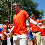 University of Florida Gators quarterback Kyle Trask as the Gators walk into and across Steve Suprrier Field at  Ben Hill Griffin Stadium during Gator Walk prior to the 2018 Orange and Blue Debut.  April 14th, 2018.  Gator Country photo by David Bowie.