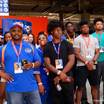 Florida Gator recruits watch on as the Gators walk into and across Steve Suprrier Field at  Ben Hill Griffin Stadium during Gator Walk prior to the 2018 Orange and Blue Debut.  April 14th, 2018.  Gator Country photo by David Bowie.