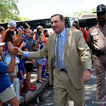 University of Florida Gators Head Coach Dan Mullen as the Gators walk into and across Steve Suprrier Field at  Ben Hill Griffin Stadium during Gator Walk prior to the 2018 Orange and Blue Debut.  April 14th, 2018.  Gator Country photo by David Bowie.