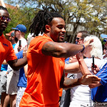 University of Florida Gators running back Jordan Scarlett as the Gators walk into and across Steve Suprrier Field at  Ben Hill Griffin Stadium during Gator Walk prior to the 2018 Orange and Blue Debut.  April 14th, 2018.  Gator Country photo by David Bowie.