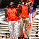University of Florida Gators quarterback Emory Jones as the Gators walk into and across Steve Suprrier Field at  Ben Hill Griffin Stadium during Gator Walk prior to the 2018 Orange and Blue Debut.  April 14th, 2018.  Gator Country photo by David Bowie.