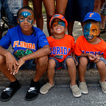 Fans cheer on as the Gators walk into and across Steve Suprrier Field at  Ben Hill Griffin Stadium during Gator Walk prior to the 2018 Orange and Blue Debut.  April 14th, 2018.  Gator Country photo by David Bowie.