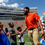 University of Florida Gators defensive lineman Cece Jefferson as the Gators walk into and across Steve Suprrier Field at  Ben Hill Griffin Stadium during Gator Walk prior to the 2018 Orange and Blue Debut.  April 14th, 2018.  Gator Country photo by David Bowie.
