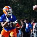 University of Florida Gators running back Lamical Perine as the Gators run drills during the first day 2018 spring practices at Sanders Field at the Universitu of Florida.  March 16th, 2018.  Gator Country photo by David Bowie.
