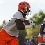University of Florida Gators linebacker Vosean Joseph makes an interception as the Gators run drills during the first day 2018 spring practices at Sanders Field at the Universitu of Florida.  March 16th, 2018.  Gator Country photo by David Bowie.
