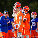 University of Florida Gators Head Coach Dan Mullen coaching up the quarterbacks as the Gators run drills during the first day 2018 spring practices at Sanders Field at the Universitu of Florida.  March 16th, 2018.  Gator Country photo by David Bowie.