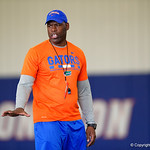 University of Florida Gators safties coach Ron English as the Gators run drills during the first day 2018 spring practices at Sanders Field at the Universitu of Florida.  March 16th, 2018.  Gator Country photo by David Bowie.