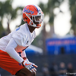 University of Florida Gators defensive back CJ Henderson as the Gators run drills during the first day 2018 spring practices at Sanders Field at the Universitu of Florida.  March 16th, 2018.  Gator Country photo by David Bowie.