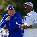 University of Florida Gators Head Coach Dan Mullen and University of Florida Gators quarterbacks coach Brian Johnson as the Gators run drills during the first day 2018 spring practices at Sanders Field at the Universitu of Florida.  March 16th, 2018.  Gator Country photo by David Bowie.