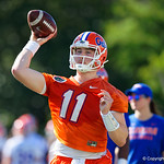 University of Florida Gators quarterback Kyle Trask as the Gators run drills during the first day 2018 spring practices at Sanders Field at the Universitu of Florida.  March 16th, 2018.  Gator Country photo by David Bowie.