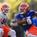 University of Florida Gators running back Jordan Scarlett as the Gators run drills during the first day 2018 spring practices at Sanders Field at the Universitu of Florida.  March 16th, 2018.  Gator Country photo by David Bowie.