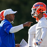 University of Florida Gators cornerbacks coach Charlton Warren as the Gators run drills during the first day 2018 spring practices at Sanders Field at the Universitu of Florida.  March 16th, 2018.  Gator Country photo by David Bowie.