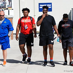 Florida Gators recruits watch on as the Gators run drills during the first day 2018 spring practices at Sanders Field at the Universitu of Florida.  March 16th, 2018.  Gator Country photo by David Bowie.