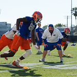 University of Florida Gators tight end C'yontai Lewis running a route as the Gators run drills during the first day 2018 spring practices at Sanders Field at the Universitu of Florida.  March 16th, 2018.  Gator Country photo by David Bowie.