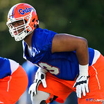 University of Florida Gators offensive lineman Martez Ivey as the Gators run drills during the first day 2018 spring practices at Sanders Field at the Universitu of Florida.  March 16th, 2018.  Gator Country photo by David Bowie.