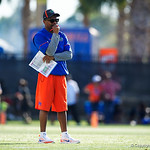University of Florida Gators running backs coach Greg Knox as the Gators run drills during the first day 2018 spring practices at Sanders Field at the Universitu of Florida.  March 16th, 2018.  Gator Country photo by David Bowie.