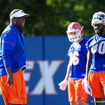University of Florida Gators tight ends coach Larry Scott as the Gators run drills during the first day 2018 spring practices at Sanders Field at the Universitu of Florida.  March 16th, 2018.  Gator Country photo by David Bowie.