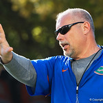 University of Florida Gators Co-Offensive Coordinator and Offensive Line coach John Hevesy as the Gators run drills during the first day 2018 spring practices at Sanders Field at the Universitu of Florida.  March 16th, 2018.  Gator Country photo by David Bowie.