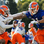University of Florida Gators wide receiver Trevon Grimes working against University of Florida Gators defensive back CJ Henderson as the Gators run drills during the first day 2018 spring practices at Sanders Field at the Universitu of Florida.  March 16th, 2018.  Gator Country photo by David Bowie.