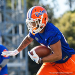 University of Florida Gators wide receiver Trevon Grimes as the Gators run drills during the first day 2018 spring practices at Sanders Field at the Universitu of Florida.  March 16th, 2018.  Gator Country photo by David Bowie.