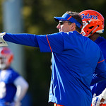 University of Florida Gators Head Coach Dan Mullen as the Gators run drills during the first day 2018 spring practices at Sanders Field at the Universitu of Florida.  March 16th, 2018.  Gator Country photo by David Bowie.