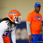 University of Florida Gators defensive back Shawn Davis as the Gators run drills during the first day 2018 spring practices at Sanders Field at the Universitu of Florida.  March 16th, 2018.  Gator Country photo by David Bowie.