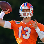 University of Florida Gators quarterback Feleipe Franks as the Gators run drills during the first day 2018 spring practices at Sanders Field at the Universitu of Florida.  March 16th, 2018.  Gator Country photo by David Bowie.