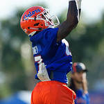 University of Florida Gators athlete Kadarius Toney as the Gators run drills during the first day 2018 spring practices at Sanders Field at the Universitu of Florida.  March 16th, 2018.  Gator Country photo by David Bowie.